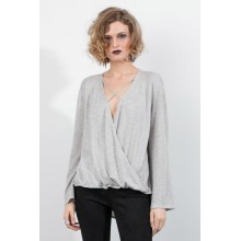 Bell Sleeve Criss Cross Deep V Neck Sweater