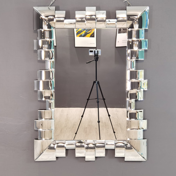 Silver Mirror Rectangular Shape 3D Hanging Mirror