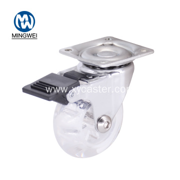 2inch PU Transparent Office Chair caster wheel brake