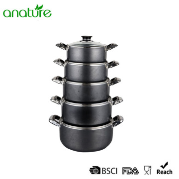 Powder Coated Black Non Sticking 10Pcs Sauce Pot
