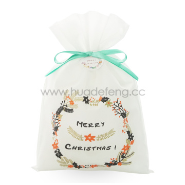 White Non-woven Fabric Wreath Christmas Gift Packing Bags