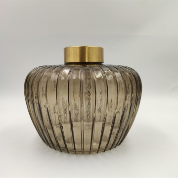Brown Color Glass Vase With Metal Top