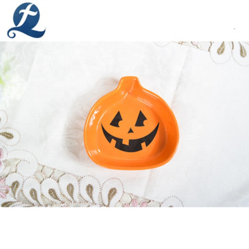 Decorative Pumpkin Shape Custom Festival Serving Ceramic Plate Dish