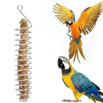 Stainless Steel Parrot Feeder Food Fruits Vegeteable Basket Cotaniner Holder Feeding Device Bird Cage Foraging Toy