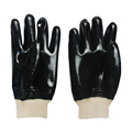 Black PVC coated gloves cotton linning smooth finish