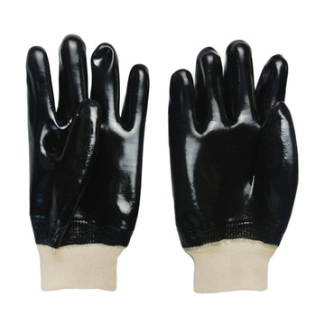 Black pvc single dipped gloves knit wrist