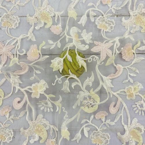 Pleochroic Flower Embroidery Fabric For Bridal Party Dress