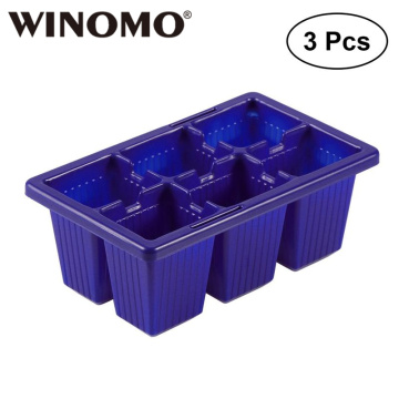 WINOMO 3 PCS Seed Sprouter Tray Seedling Starter Trays 6 Cells Per Tray Plant Grower
