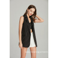 high quality striped casual fashion ladies sleeveless blazer