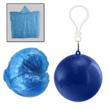 PE rain poncho in blue ball
