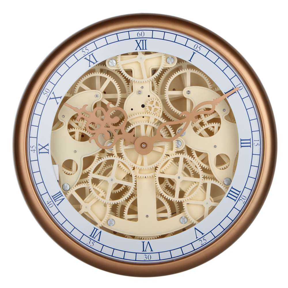 Round Gear Wall Clock WIth Golden Frame