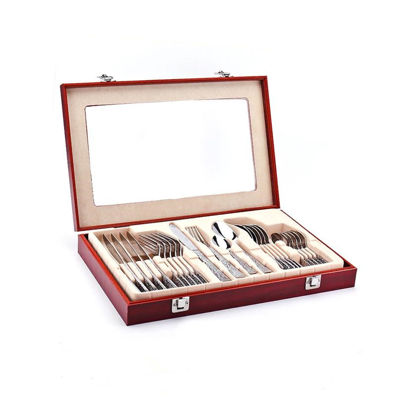 24pcs Decorative Pattern Cutlery Set Wooden Box