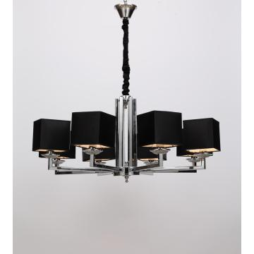 Modern Dining room White/ Black Lampshade Chandelier