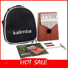 17 Keys Kalimba Thumb Piano With Mahogany Wooden With Bag, Hammer Kit And Music Book,Thumb Piano Portable Thumb Piano for Child