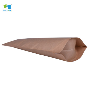bolsa kraft paper stand up pouch compostables bag protein with zipper & clear win