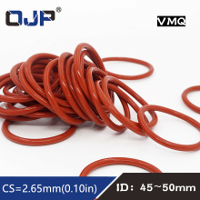 5PCS/lot Red Silicon Rings Silicone O ring 2.65mm Thickness ID45/46.2/47.5/48.7/50mm Rubber O-Ring Seal Gasket elasticity Rings