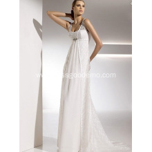 Empire Sheath Column Straps Chapel Train Chiffon Lace Draped Wedding Dress