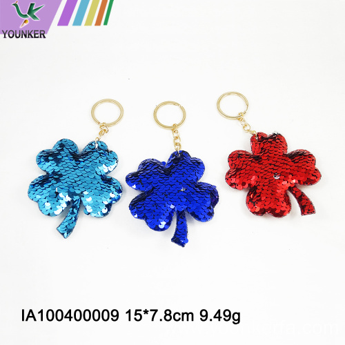 Clover sequined key chain bag pendant
