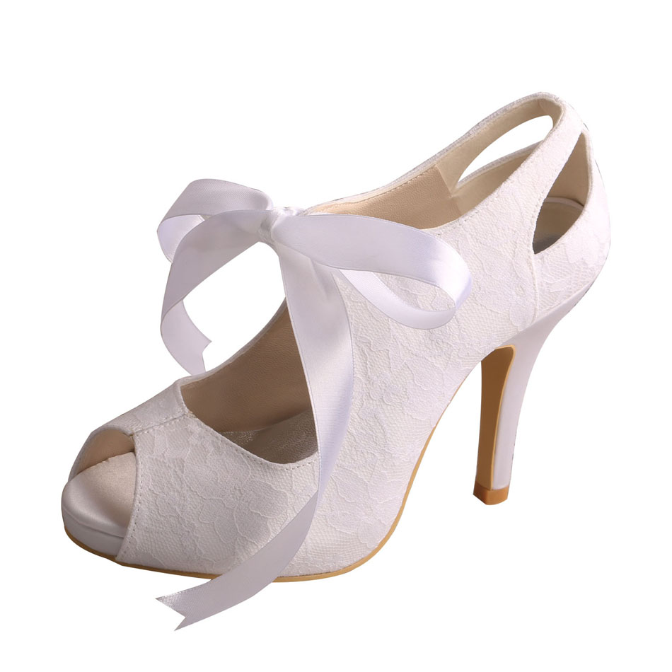 Ribbon Tie Lace Bridal Shoes Ivory