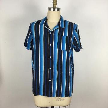 Men Loose Fit Short Sleeve Casual Striped Shirt