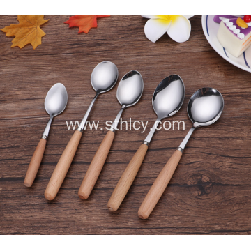 Wooden Handle 304 Stainless Steel Soup Spoon