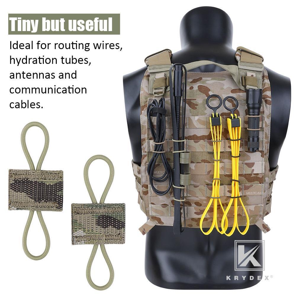 KRYDEX Multicam MOLLE Elastic Conversion Buckle Antenna Communication Cable Hydration Tube Route Loop Storage PTT Retainer 4PCS