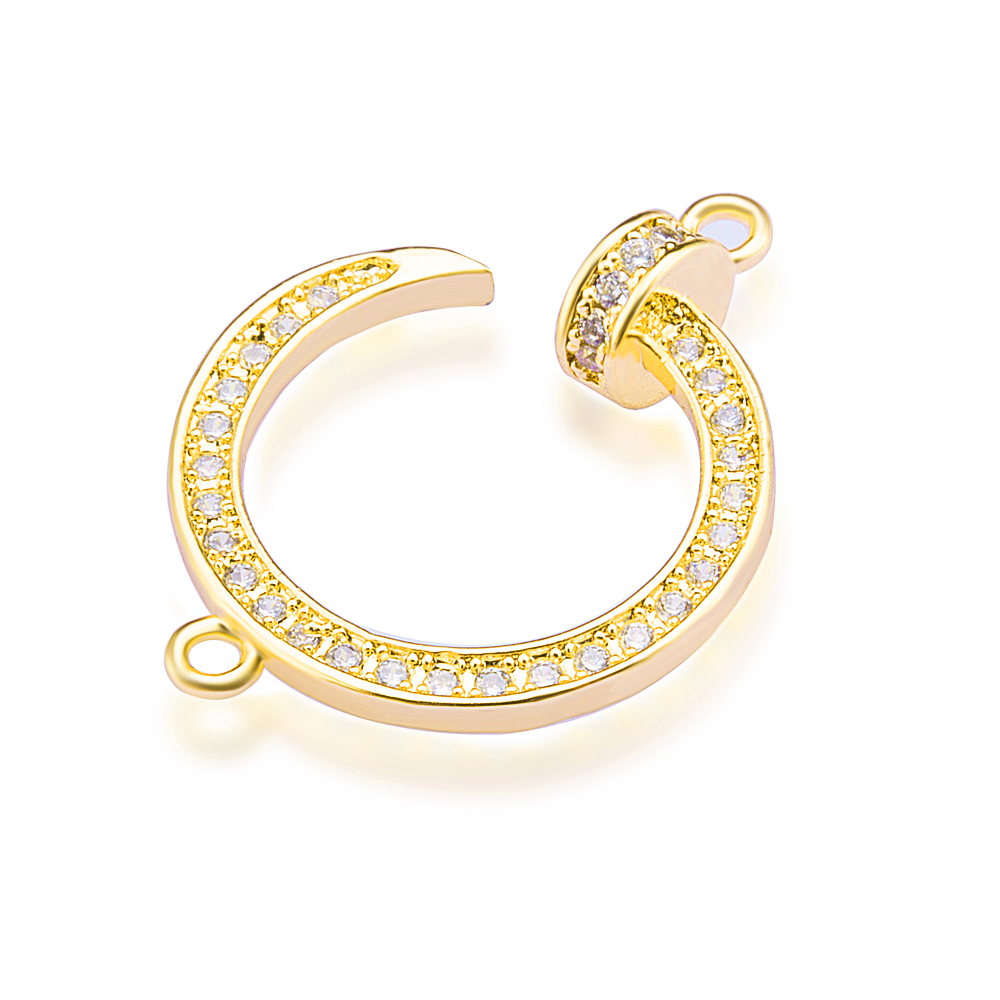 Micro Pave Crystals Copper Charm Connectors Accessories For Women Fashion Earrings Charm Bracelets DIY Making ZSS398