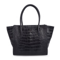 Crocodile Embossed Leather Women Top Handle Tote Handbags