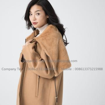 Women Cashmere Coat With Mink Fur