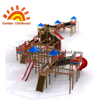 small wooden outdoor play structure
