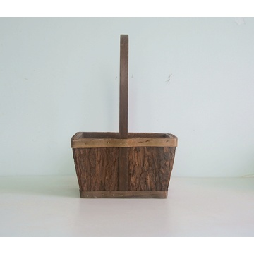 rectangular wood bark collecting basket
