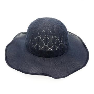 Fashion style diamond logo plain bucket straw hat