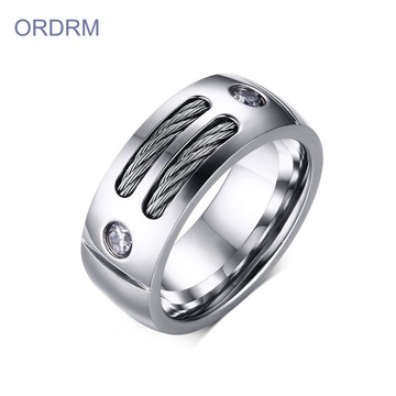 Custom Stainless Steel Mens Cable Band Ring