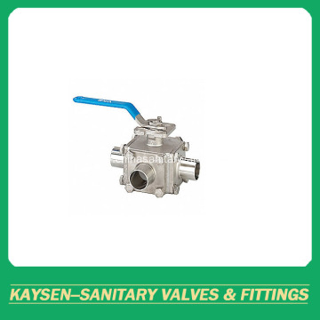 Hygienic 3-way non-retention ball valve full bore