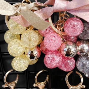 Small Fresh Grape Keychain Cute Critical Crystal Bowknot Fruit Car Key Chain Girl Bag Pendant Children Keyring