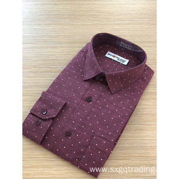 Men's TC print stand-up collar long sleeve shirt