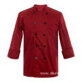 Red Turnover Sleeve Cuff Chef Jacket For Men Formal Restaurant Uniforms