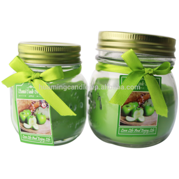 scented glass candle with glass jar