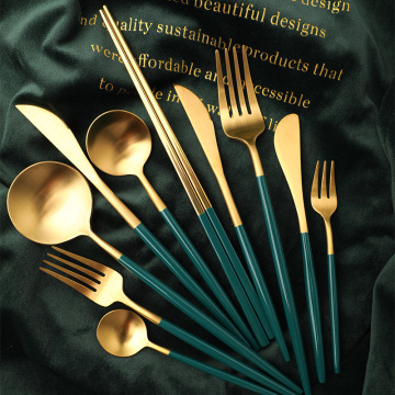 Portugal Stainless Steel Matte Black Green Cutlery Set