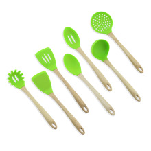 7pcs silicone utensils with wood handle