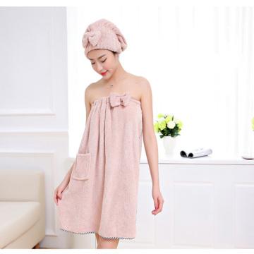 Women Bath Towel Set Microfiber Bath Towels Quick-drying Cotton Polyester Thick Soft Bath Dress Bathrobe with Hair Dry Cap