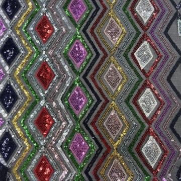 Lozenge Tassel Color Combine Sequin Embroidery Fabrics