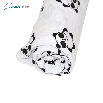 Newborn Cotton Muslin Baby Swaddle Blanket Satin Trim
