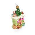 China Factory Fireplace Shape Christmas Blown Glass Ornament Customized