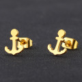 Tiny gold plated anchor stud earrings