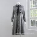 Women Casual Black-and-white Checked Long-sleeved Dress