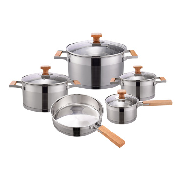 Wooden handle cookware set for home
