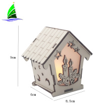 Wooden House with LED Night Christmas Tree Decoration