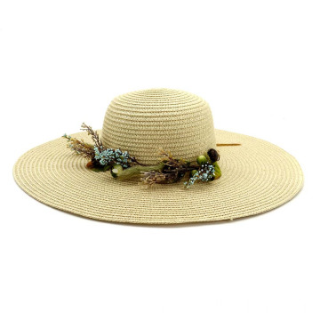 Asian bucket straw hat greens with flower decoration