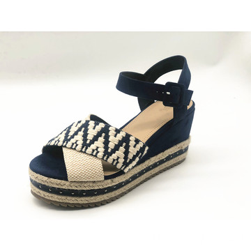 Womens Espadrille Platform Sandals with Fabric Wedge